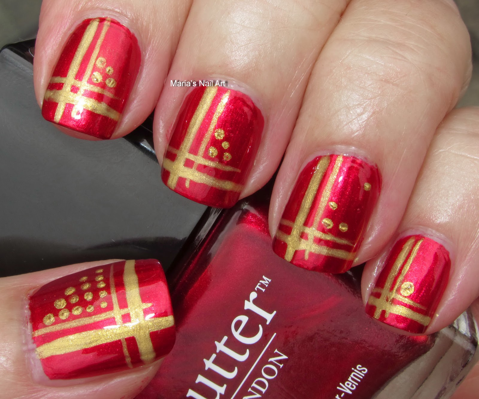 Marias Nail Art And Polish Blog Flushed With Stripes And: Marias Nail Art And Polish Blog: Red And Gold Stripes And Dots