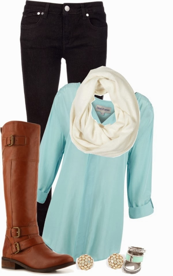 Black Jeans, White Scarf, Blue Shirt, Long Neck Boots, Ear Tops and Earrings