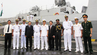 Two Indian naval ships, the INS Shivalik and INS Karmuk, commanded by Rear Admiral Ajit Kumar P, who is also the Eastern Naval Commander, docked in Haiphong port city on May 19, 2012