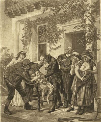 Edward Jenner vaccinating James Phipps, a boy of eight, on May 14, 1796 by Gaston Mélingue