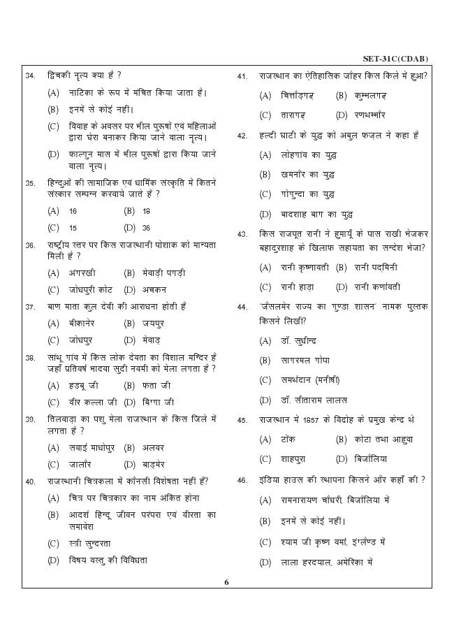 CURRENT GK: Rajasthan Patwari Exam Paper 3
