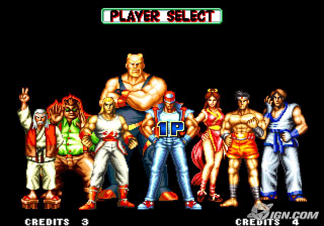 Seleccion de personajes del videojuego Fatal Fury 2