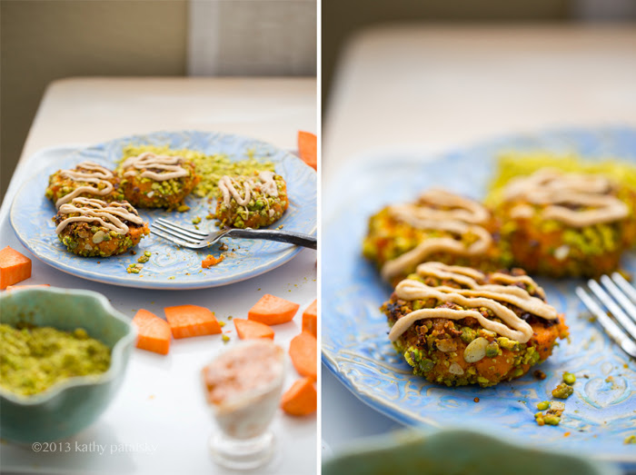 my lunch plate smashed sweet potato fritters pistachio pumpkin seed crusted