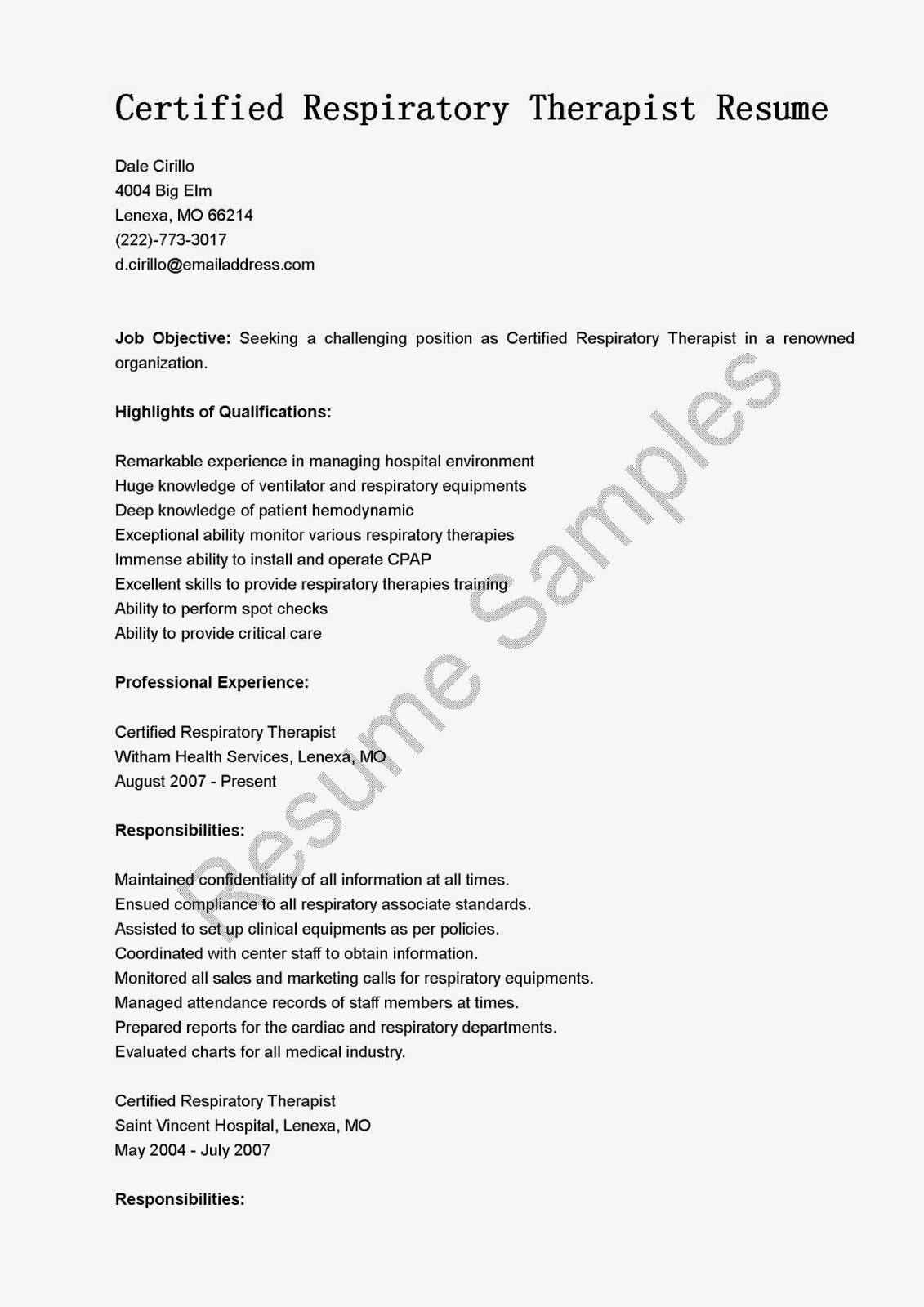 Respiratory therapy resume new graduate – Respiratory Therapist Job Description