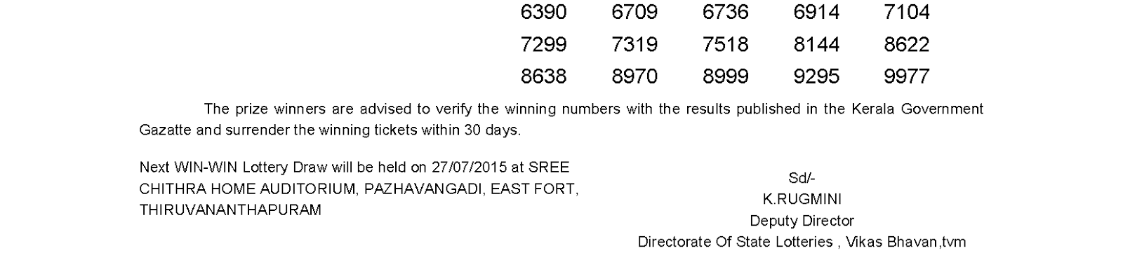 WIN WIN Lottery W 317 Result 20-7-2015