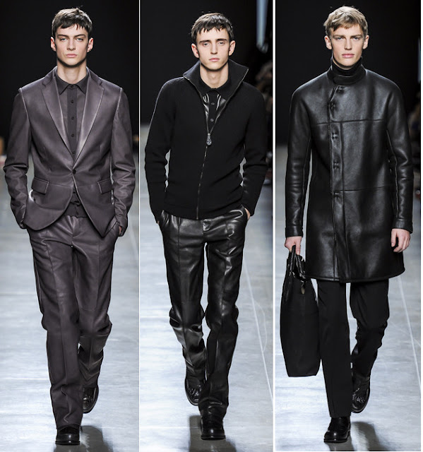 Leather pants and suits at Bottega Veneta Fall 2013