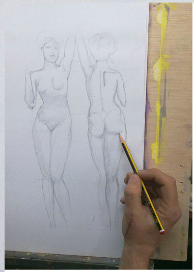 desnudo femenino sargent a lapiz