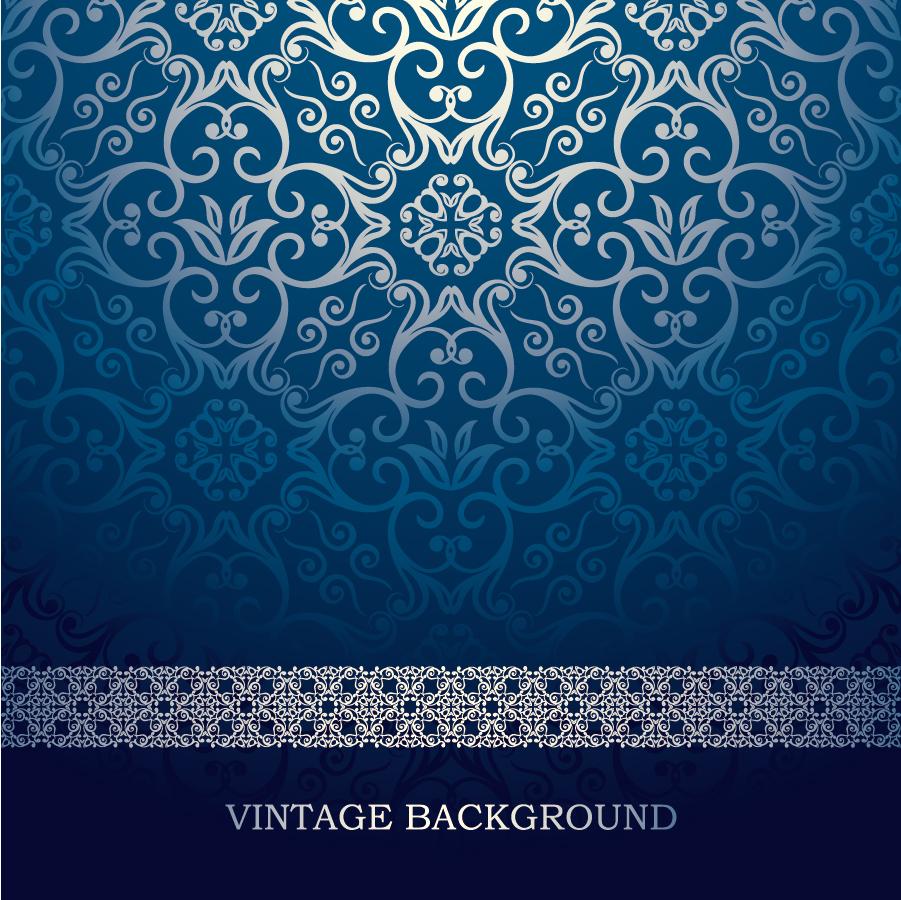 美しく反射する藍色パターンの背景 blue European pattern vector background イラスト素材