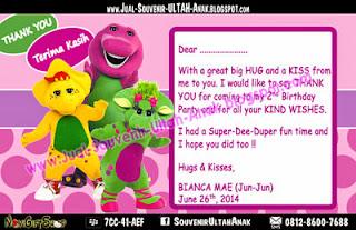 Thanks Card Barney Bianca Sample Tema Design Thanks Card (Kartu Ucapan Terima Kasih)