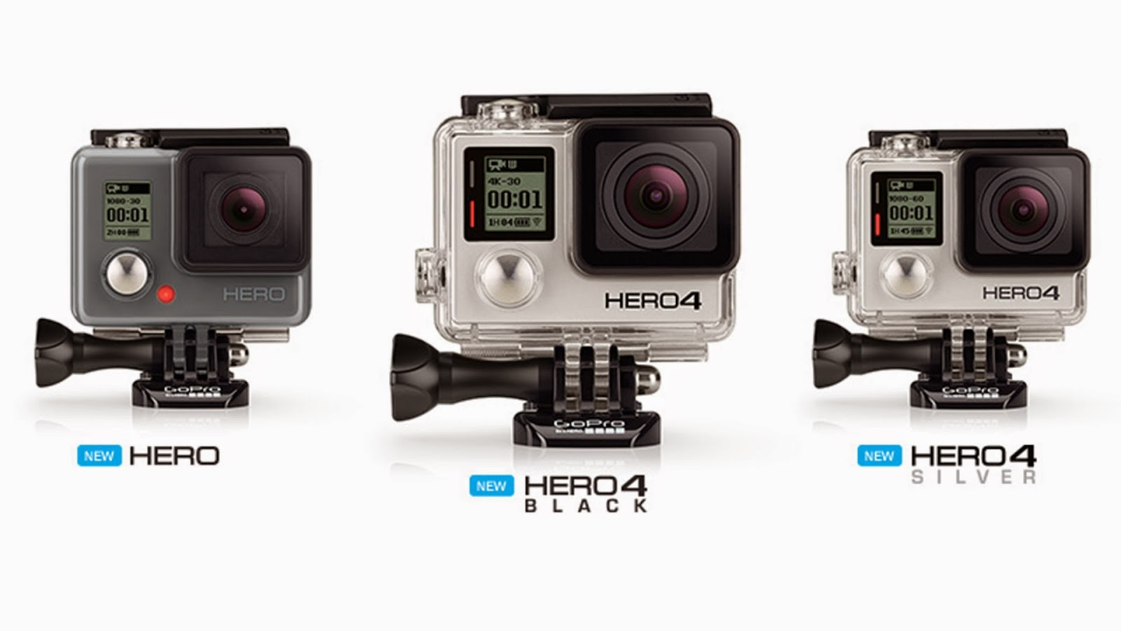 GoPro Hero 4 Series, GoPro Hero 4 Black, GoPro Hero 4 Silver, GoPro basic Hero camera