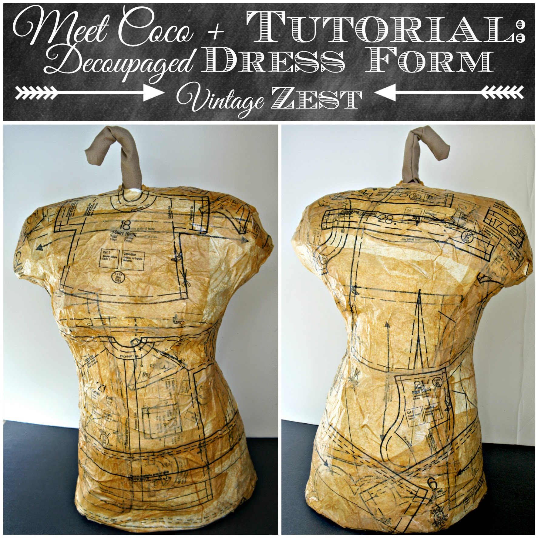 Meet Coco + Tutorial: Decoupaged Dress Form on Diane's Vintage Zest!