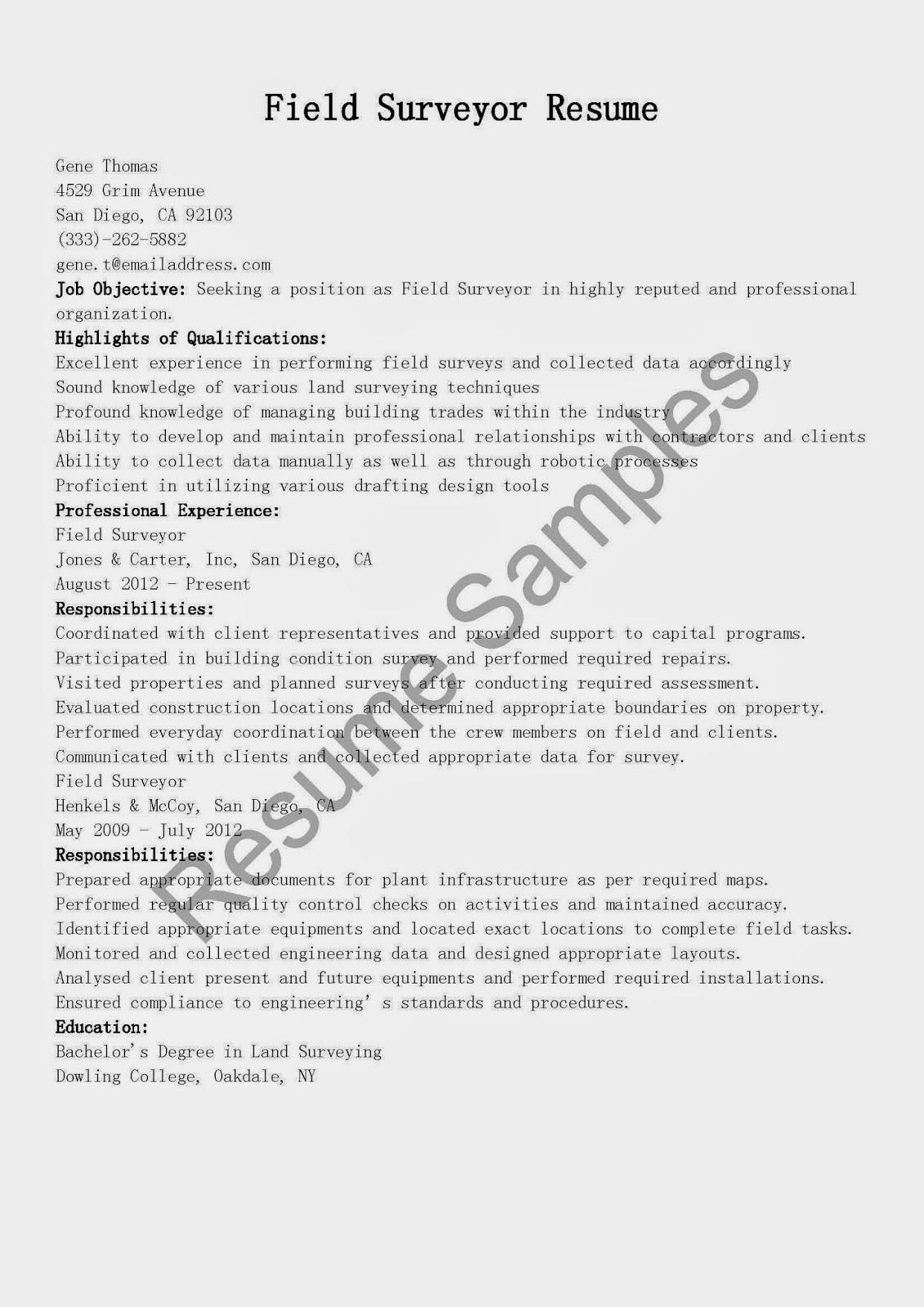 cover letter for land surveyor resume