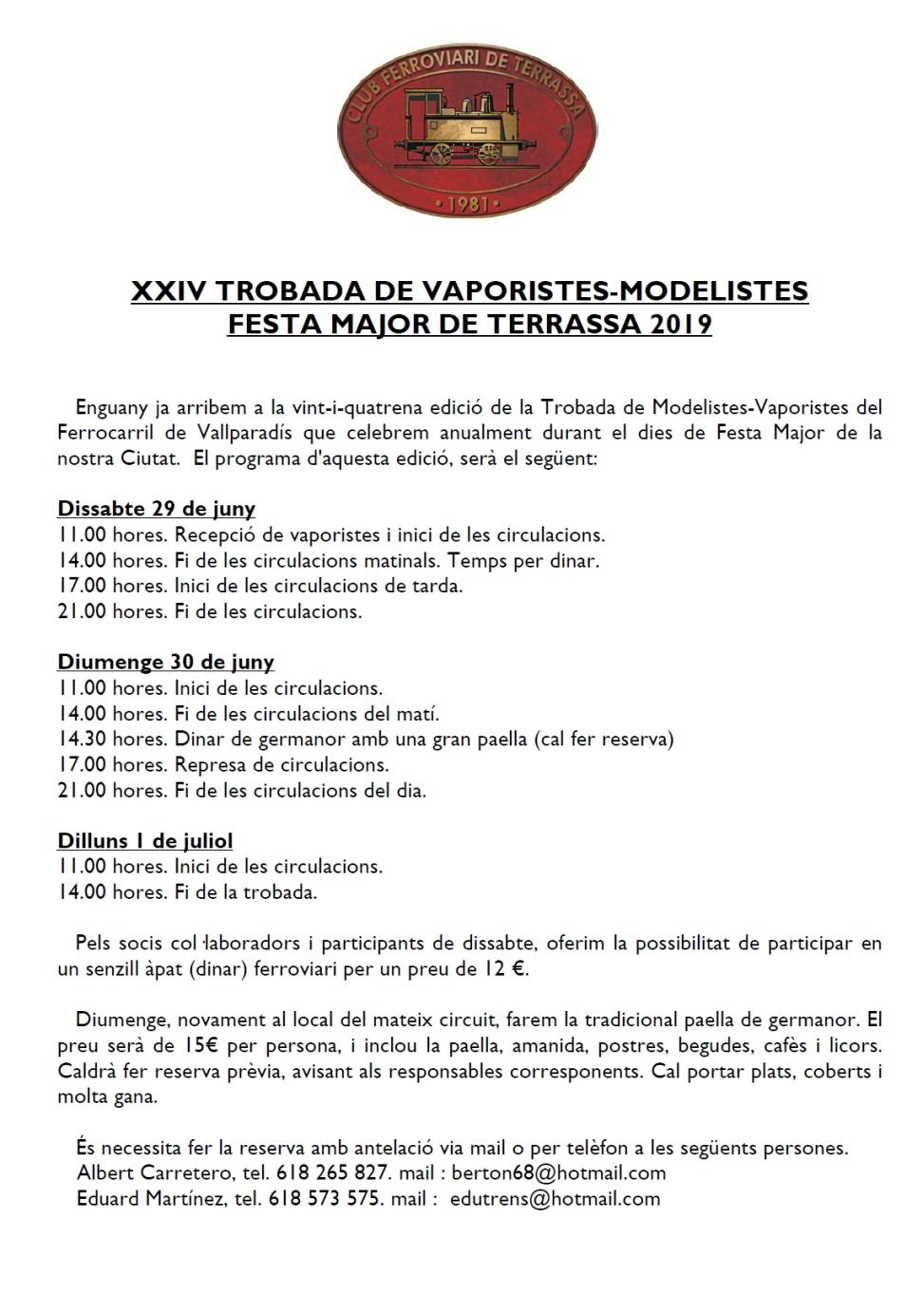XXIV Troabada de Modelistes i Vaporistes. Festa Major de Terrassa 2019. Programa