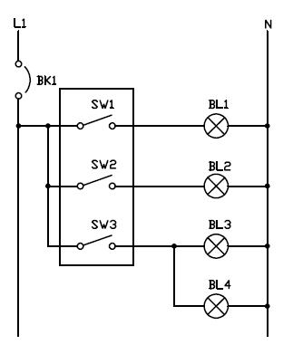 Conexion interruptor triple