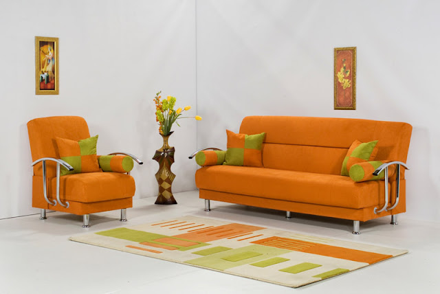 Orange living room design photo