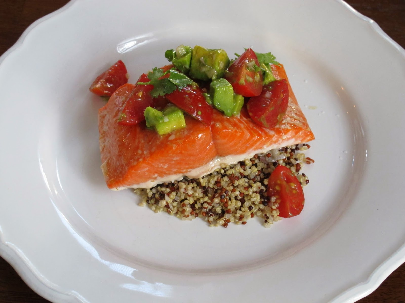 Copper River Salmon with Tomato Avocado Salsa