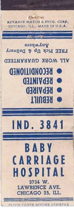 labels  matchbook   chicago   baby carriage hospital   3734 w lawrence