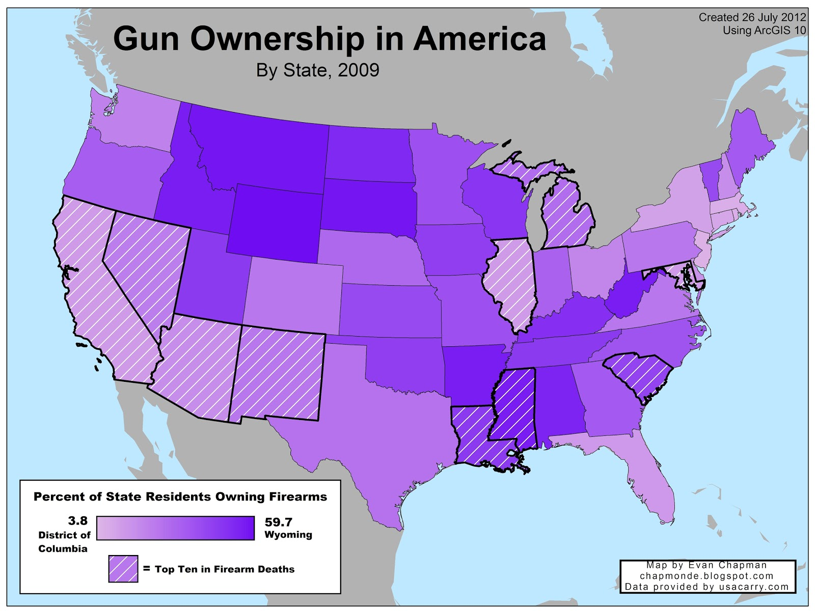 a state where only 20 of residents own a gun actually falls in among the ten worst states for gun deaths meanwhile the most armed states wyoming