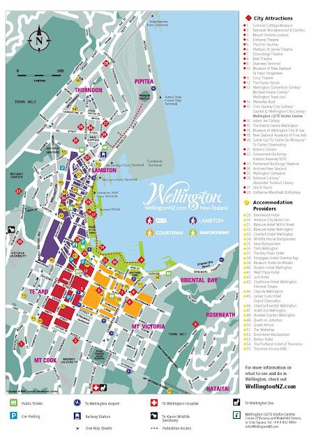 Mapa turístico de Wellington