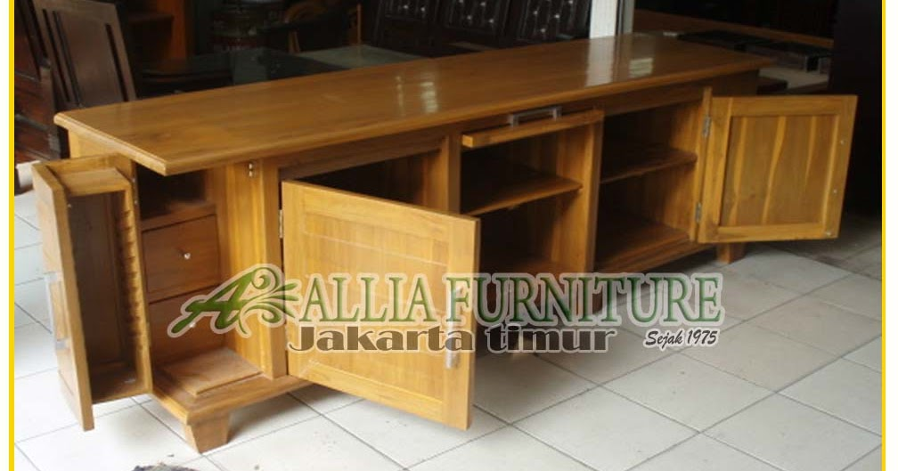 Bufet Tv Jati Minimalis Model Ukiran Allia Furniture