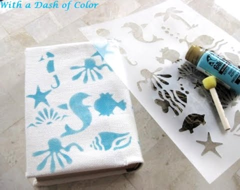 fabric book covers with stencils