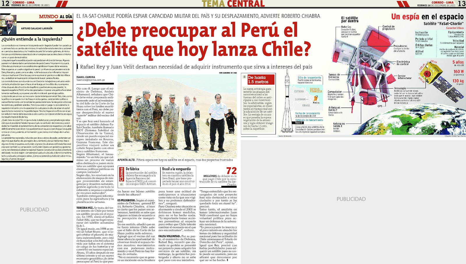Resultado de imagen para satelite chileno peru