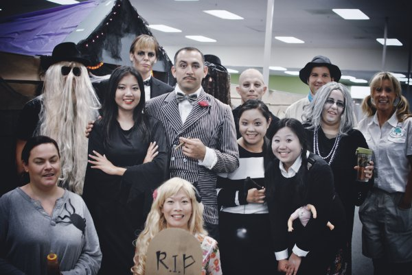 halloween is a big deal at workthe costumes this year were no joke we dressed up as the addams family and our cubicles became the addams family mansion