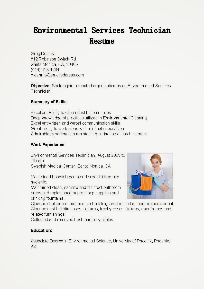 resume samples environmental services technician resume sample