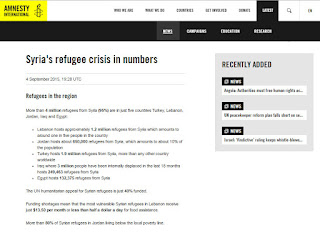 Screenshot of the Amnesty International news release on Syrian refugees.