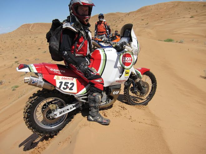 John and his amazing Cagiva.  Old school Dakar with a big bike in the dunes...for real men only.