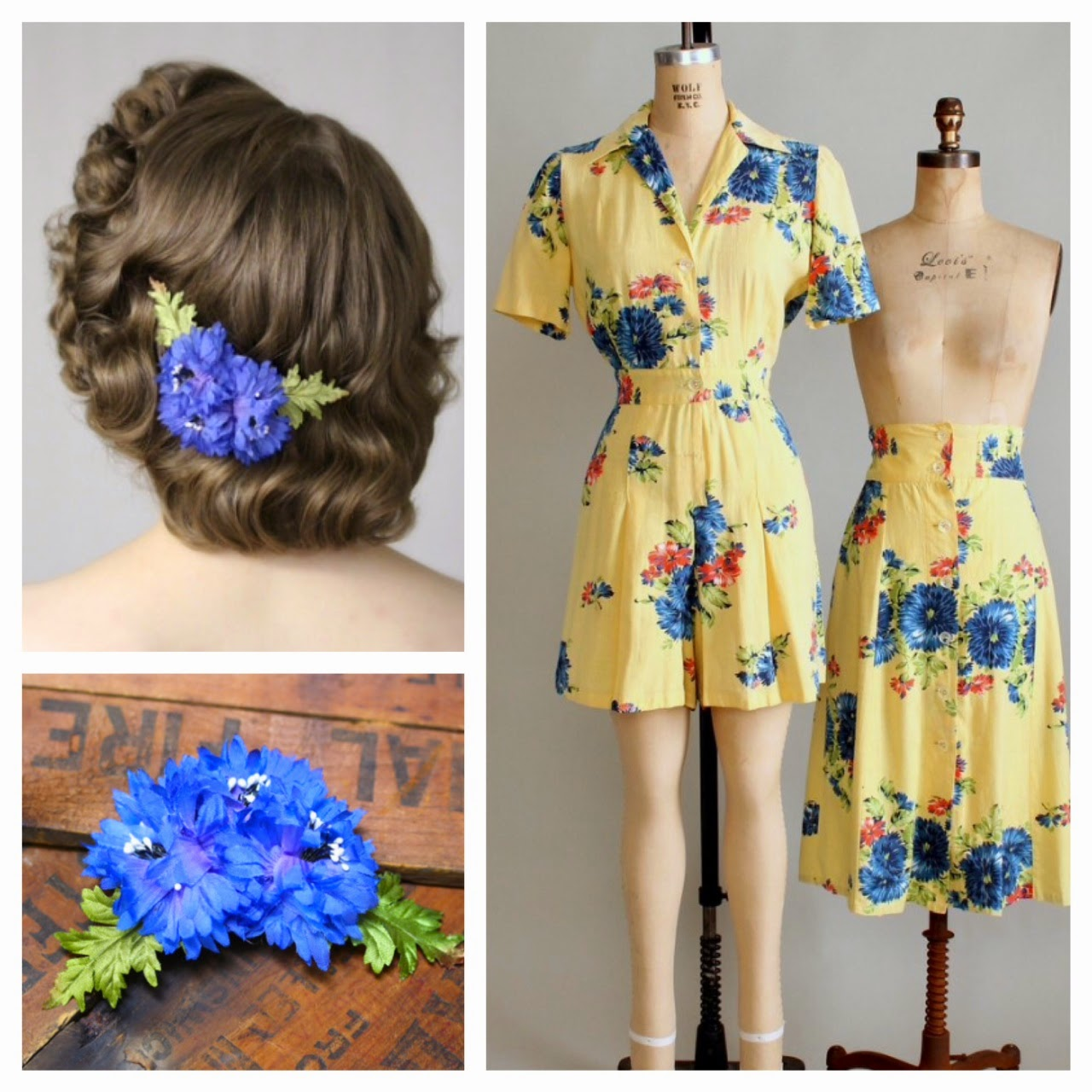 vintage playsuit with detachable skirt