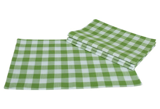 gingham check place mats green on sale one kings lane