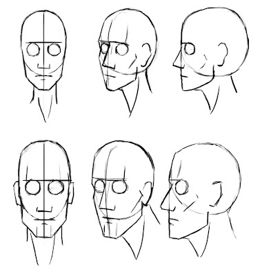 how to draw different head angles
