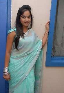 madhavi latha hot photos in Blue saree+(1)