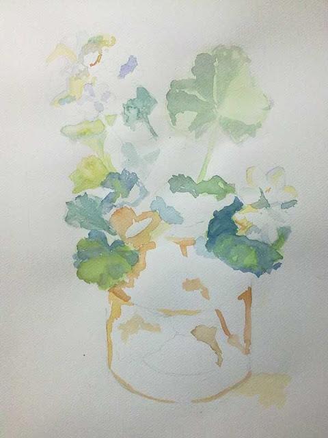 proceso de pintura de geranios
