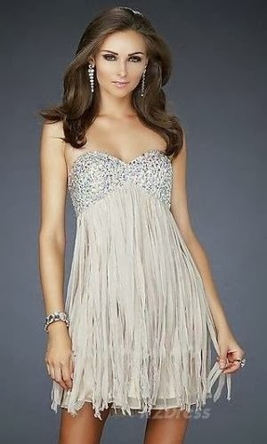 Silver Color Short Prom Dress