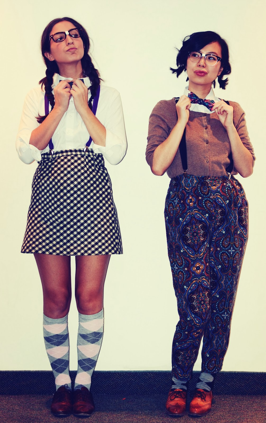 halloween fashion costume nerds argyle bowtie cardigan houndstooth suspenders skirt oxfords