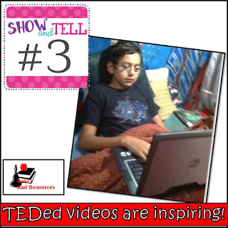 Show and tell time - what does homeschooling in an RV really look like? Find out in this blog post by Heidi Raki of Raki's Rad Resouces and RVing with the Rakis. Watching TEDed videos with the sixth grader.