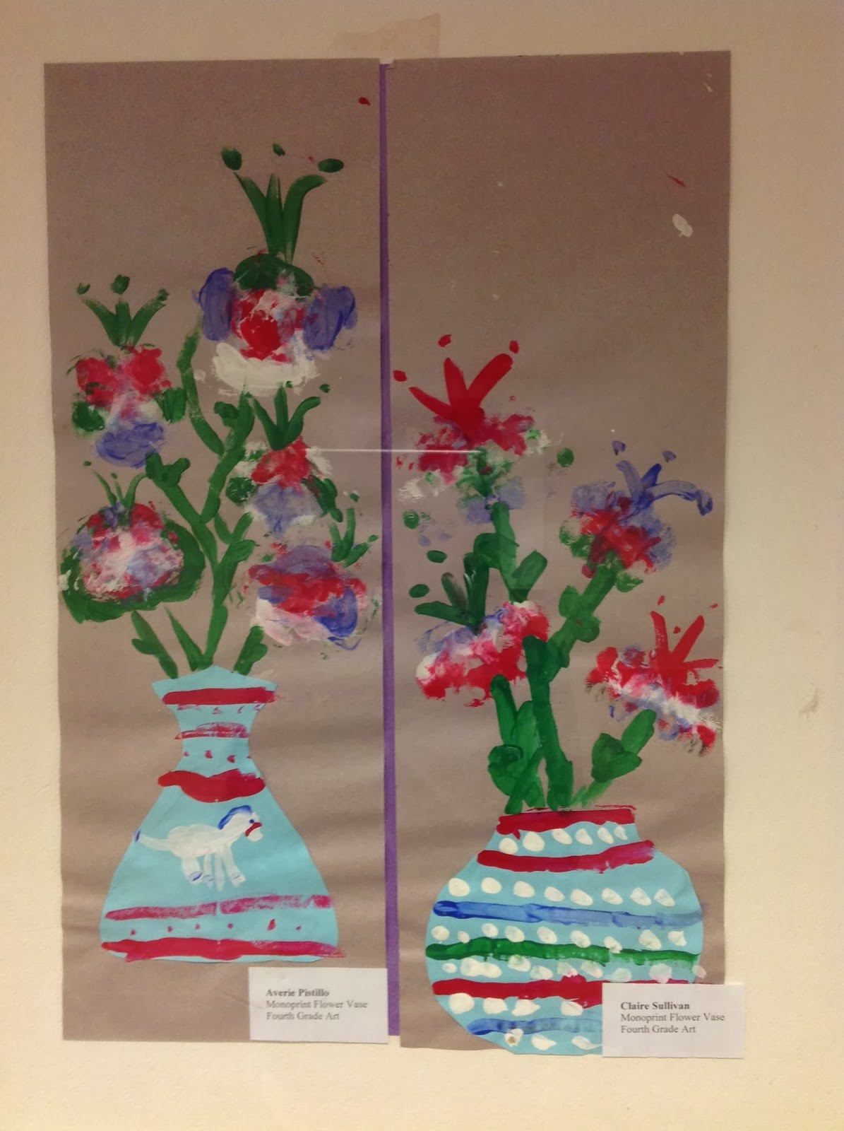 Fourth Grade Monoprint Flower Vase Printmaking Art Lesson