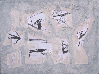 Collage y pintura sobre fotocopias de dibujos realizados por Kafka - Beatriz Bekerman