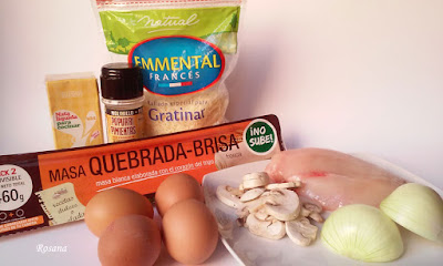 ingredientes quiche pollo con champiñones