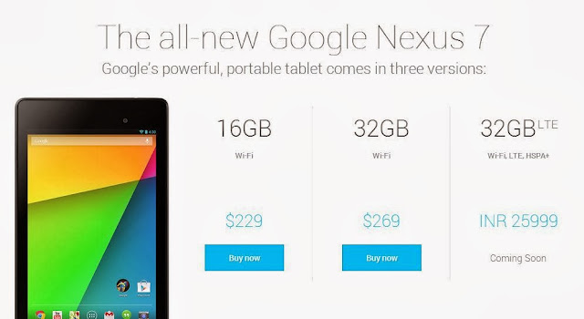 Google Nexus 7 (2013) LTE price