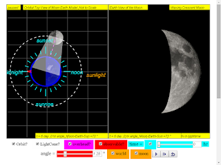 when day =6, it is waxing crecent moon click to run: EJSS Moon Phases Model offline: DOWNLOAD, UNZIP and CLICK *.html to run source: EJSS SOURCE CODES original author: Todd Timberlake, lookang author of EJSS version: lookang