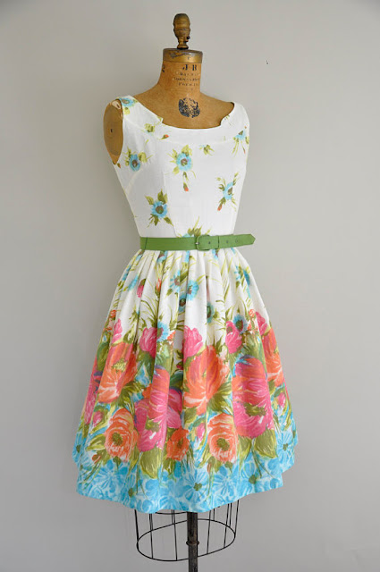 1950s Floral Tea Party Dress