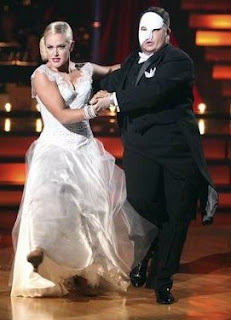 Chaz Bono and Lacey Scwimmer dancing to the music of 'Phantom Of The Opera'