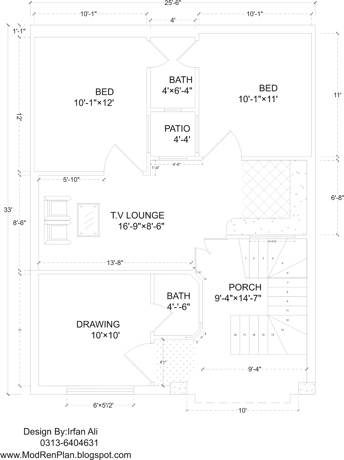 5 Marla House Plan And Map With Detail 25x33 Plan