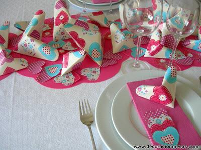 decoracion mesas centro de mesa corazones de origami