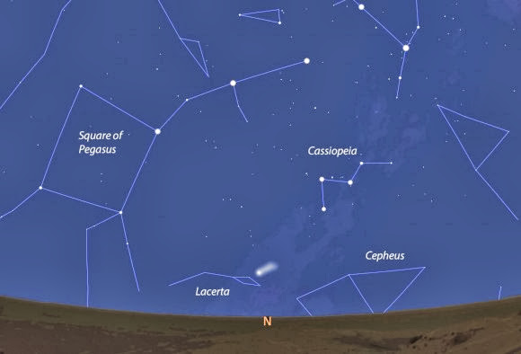 Comet ISON's location and approximate appearance on October 1 seen from the Curiosity Rover. ISON will pass only 6.7 million miles (10.8 million km) from Mars on Tuesday Oct. 1. Stellarium