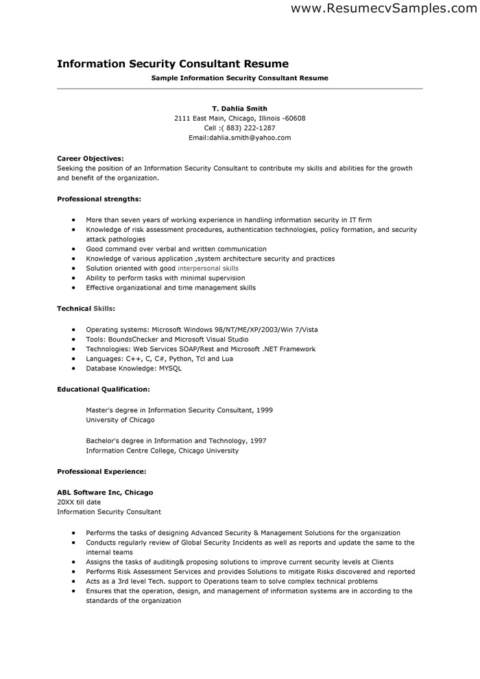resume samples  security consultant resume