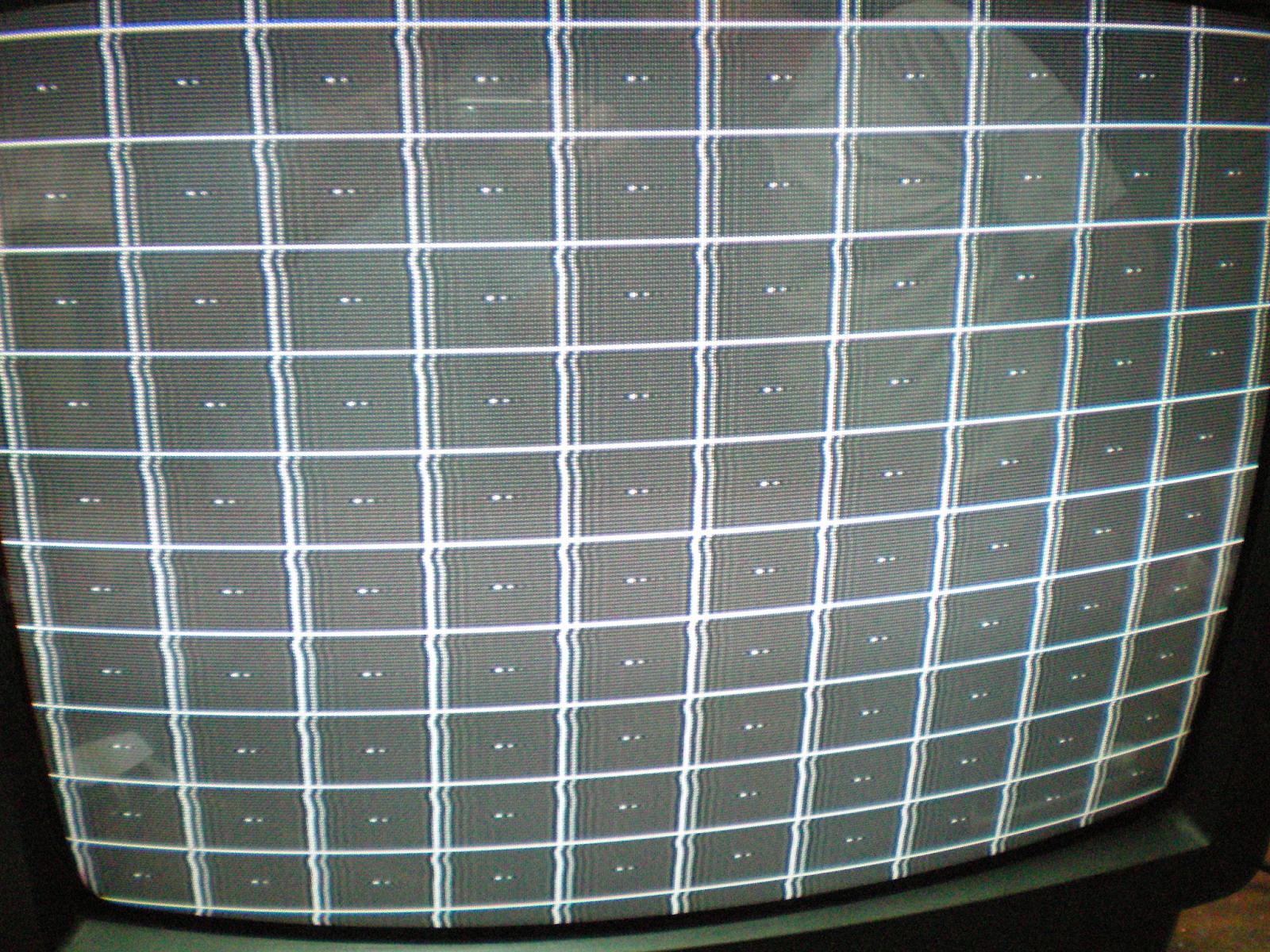 Imagen mostrando el síntoma de una falla de fantasmas sobre el lado derecho de la imagen producido por un defecto en la bobina L106 de FI de Video.